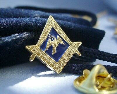 Masonic Craft Lodge Officer Deacon Dove Olive Branch Lapel Pin Badge and Pouch