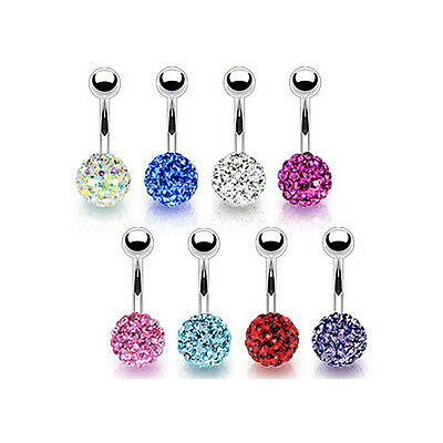 Piercing Nombril Crystal Strass Une Boule Strass Couleur Shamballa