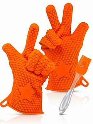 KitchenNeed Barbecue Grilling Cooking Gloves - Heat Resistant Silicone