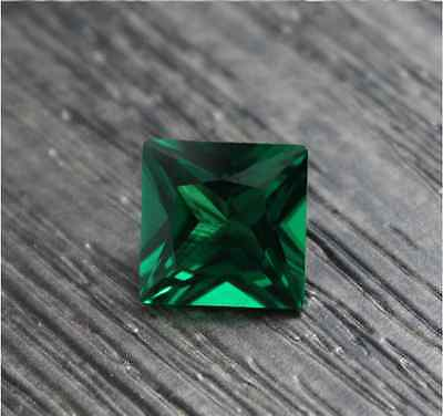 Exquisite Emerald Green Sapphire 8.02Ct 12Mm Square Cut Aaaa+ Loose Gemstones