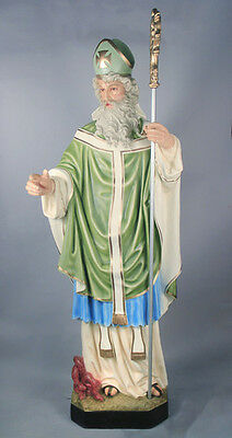 """72"""" SAINT PATRICK STATUE with STAFF - HAND PAINTED  (RELIGIOUS CHURCH STATUARY )"""