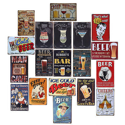 Cafe Beer Metal Tin Sign Poster Plaque Bar Pub Club Tavern Home Plate Wall Decor