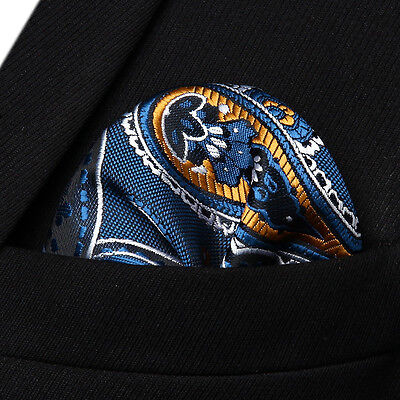 HP931V Navy Blue Orange Paisley Men Silk Party Handkerchief Pocket Square Hanky