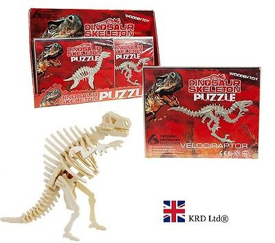 3D PUZZLE DINOSAUR ASSEMBLY KIT Construction Set Wood Craft Self Decorate Gift