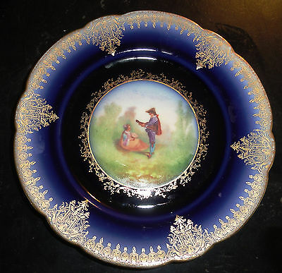 William Guerin Limoges France Decorative Plate Serenade Hand Painted Blue Gold