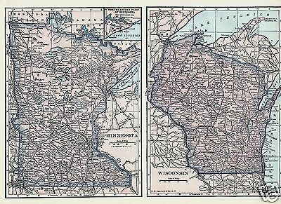 1927 Map U S States MN WI MO IA 4 State Maps C S Hammond Color Maps