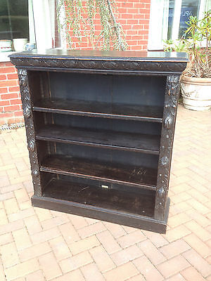 GREEN MAN CARVED OAK BOOKCASE, W F GREENWOOD & SONS LIVERPOOL ivorine label