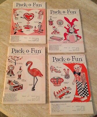 4 Vintage Pack O Fun Scrap Craft Magazines Feb March April May 1967 LOT