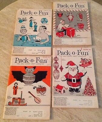 4 Vintage Pack O Fun Scrap Craft Magazines June July Aug Sept Oct Dec 1966 LOT