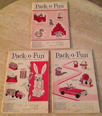 3 Vintage Pack O Fun Scrap Craft Magazines LOT March April May 1966 Very Good