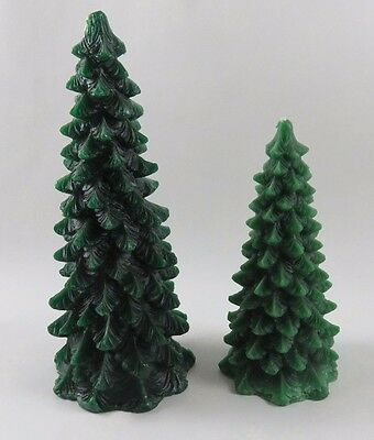 Wax Christmas Tree Candles 2 Boston Warehouse Fir Pine Village Decor VTG 1970s