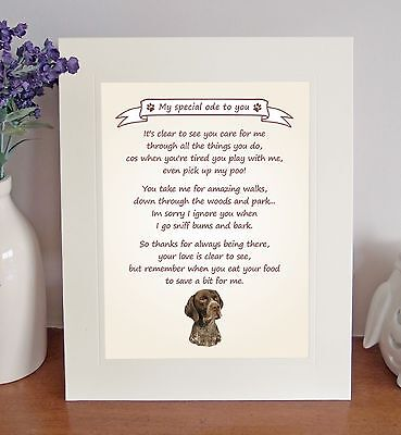 """German Shorthaired Pointer 10""""x8"""" Free Standing Thank You Poem Gift FROM THE DOG"""