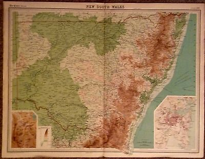 Large Vintage Map : New South Wales Australia The Times Atlas Scale 1: 2,500,000