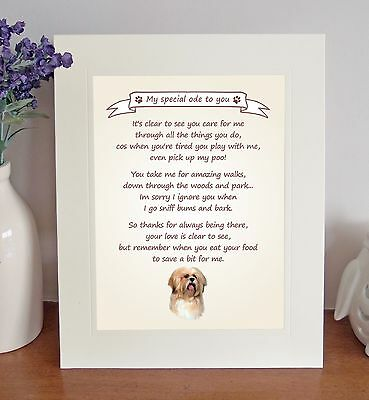 "Lhasa Apso 10"" x 8"" Free Standing 'Thank You' Poem Fun Novelty Gift FROM THE DOG"