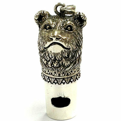 925 Sterling Silver Victorian Style Bear Whistle Pendant Charm