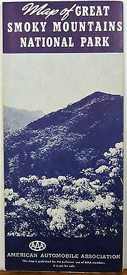 1952 Great Smoky Mountains Park North Carolina Tennessee brochure AAA road map