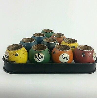 Collectible Pool Billiards Ball Candle Holder Set