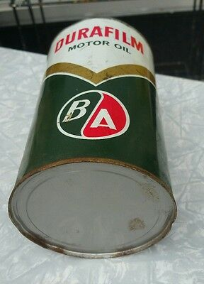 Vintage Oil Can Full NOS BA Motor French Bilingual 1 Imperial Quart Tin