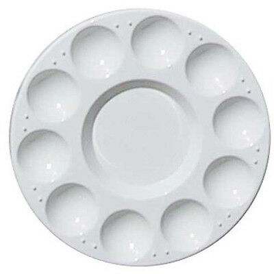 10-Well Round Professional Strong&Light Plastic Paint Palette Tray-White SH