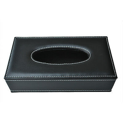 Car Home Rectangle Shaped Faux Leather Case Paper Tissue Box Holder Black SH