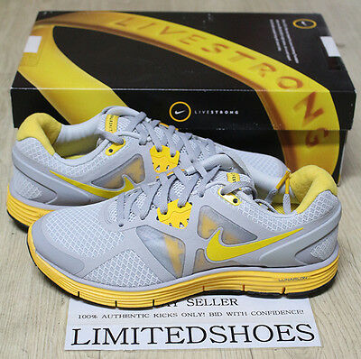 4e688c0770a9f WMNS NIKE LUNARGLIDE+3 LAF LIVESTRONG WOLF GREY YELLOW 454514-070 black  womens