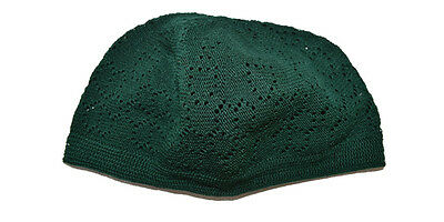 Brand New Green Kufi Skull Cap Prayer Turkish Hat Islamic Muslim Beanie Eid Head