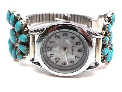 Navajo Handmade Turquoise Cluster Sterling Silver Women's Watch -R.Williams