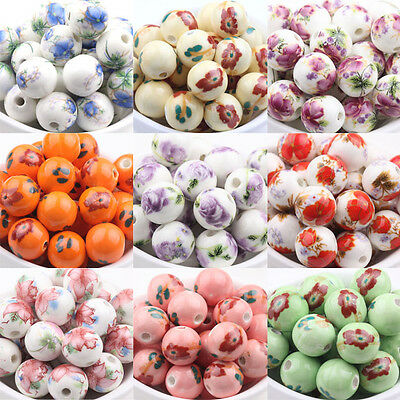 10/20pcs Ceramic Round Porcelain Loose Spacer Beads Jewelry Craft Making 12mm