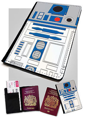 R2D2 . Printed Faux Leather Passport Holder Cover Case Star Wars .