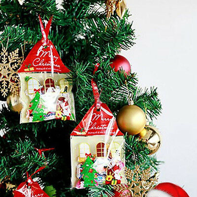 50x Christmas House Cellophane Cookies Sweet Candy Biscuit Party Favour Gift Bag