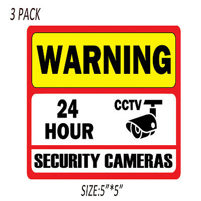"3PCS 5"" CCTV Decal Home Surveillance Security Camera Warning Video Sticker Signs"