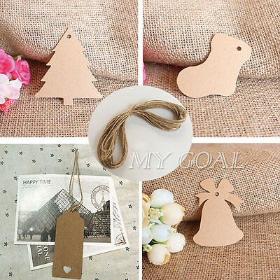 50/100 Kraft Paper Gift Hang Xmas Tag Wedding Scallop Label Blank Luggage String