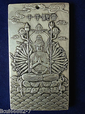 Old Chinese tibet Silver Thousand-hand Bodhisattva Bullion thanka amulet thangka
