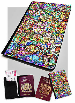 Stained Glass Printed Faux Leather Passport Holder Cover Case Disney .