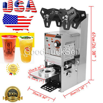 Electric Sealing Machine Cup Sealer Boba Bubble Tea Coffee 300-500 Cups/Hour USA