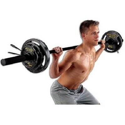 Olympic Barbell Weight Set 110 lb Adjustable Weights Home Gym Workout Exercise