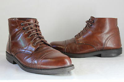 Vintage Grosvenor brown leather lace up ankle hob nail work walking boots UK 8