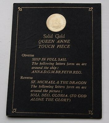 Solid Proof Gold Queen Anne Touch Piece Specially Minted Johnson Mauhey