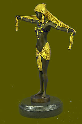 Signed Bronze Art Nouveau Deco Chiparus Statue Figurine Very Large Great Gift Nr