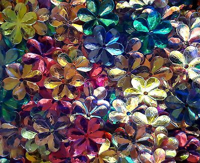 50 CRYSTAL OPAQUE IRIDESCENT FLOWER SEQUINS 1.5cm- Mixed Colours