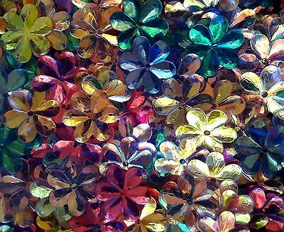 50 x CRYSTAL OPAQUE IRIDESCENT FLOWER SEQUINS 1.5cm- Mixed Colours