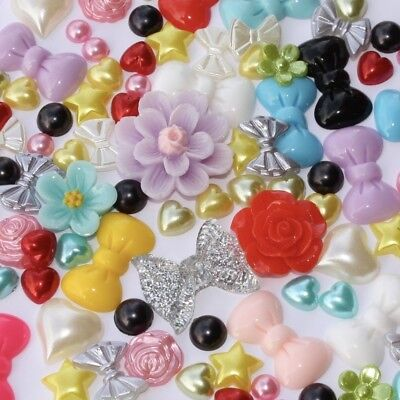 Rosey's Craft Shop 100 x Christmas Embellishments - Button Bow Random MIx