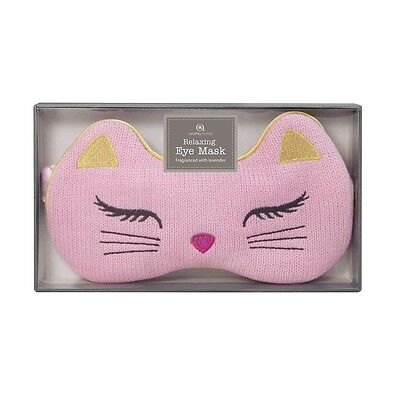 NEW Aroma Home Lavender Seed Scented Pink Cat Knitted Eye Mask / Sleep Mask