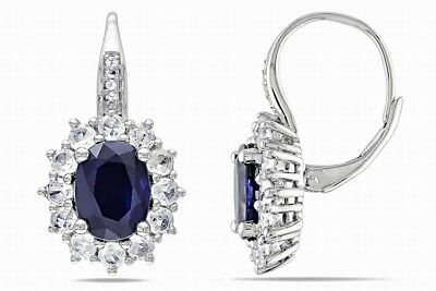 Sapphire Earrings 18ct White Gold/925 Hallmark Silver Love Wife Mum Gift For Her