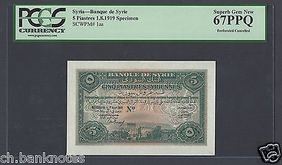 Syria Syrie Lebanon 5 Piasters 1919 P1 Specimen Perforated Uncirculated