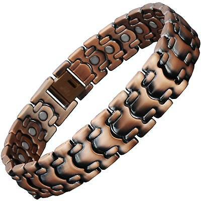 Mens Copper Clad Magnetic Bracelet Arthritis Therapy 26 Strong Nd Magnets - CS1