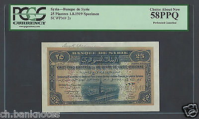 Syria Syrie  25 Piasters 1919 P2s Specimen Perforated About Uncirculated