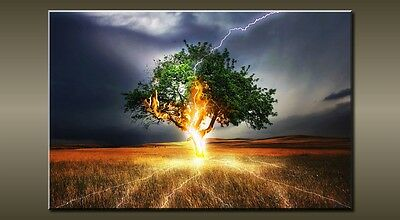 """Large Landscape Lightning Tree Green Canvas Wall Picture Flash Art 30"""" 20"""" 0115"""