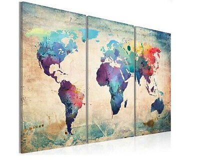 Modern Oil Painting Wall Decor Art Huge abstract - Colourful World Map Retro