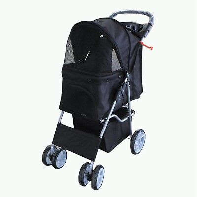 FoxHunter Pet Travel Stroller Pushchair Pram Black For Dogs Puppy Cat 4 Wheels